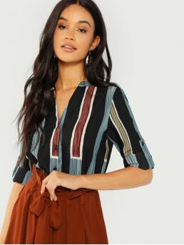 Casual Striped and Colorblock Shirt Regular Fit V neck Long Sleeve Roll Up Sleeve Placket Multicolor Regular Length Rolled Tab Sleeve Striped Shirt
