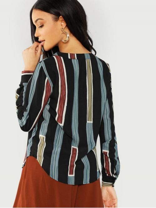 Cheap Long Sleeve Shirt Button Polyester Rolled Tab Sleeve Striped Shirt