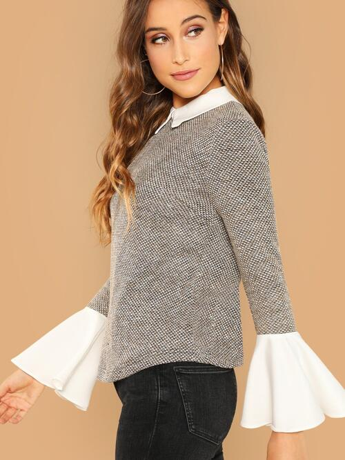 Long Sleeve Top Button Colorblock 2 in 1 Top on Sale
