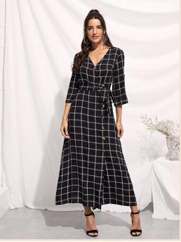 A Line Plaid Regular Fit V neck Three Quarter Length Sleeve High Waist Black Long Length Rolled Tab Sleeve Surplice Wrap Grid Dress with Belt