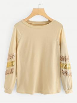 Sporty Regular Fit Round Neck Long Sleeve Pullovers Beige Regular Length Contrast Striped Sequin Tee