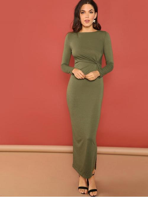 Clearance Army Green Plain Twist Round Neck Front Side Dress