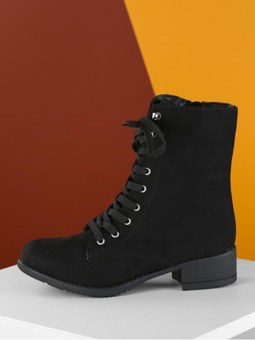 Womens Corduroy Black Stretch Boots Pearls Lace up Combat Boots