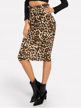 Glamorous Pencil Leopard High Waist Multicolor Midi Length Ruffle Detail Belted Leopard Print Skirt with Belt