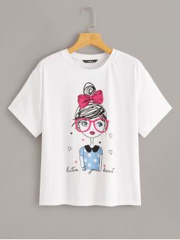 Casual Figure and Slogan Regular Fit Round Neck Short Sleeve Pullovers White Regular Length Letter & Girl Print Tee