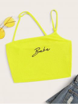 Casual Letter Slim Fit Asymmetrical Neck Yellow and Bright Crop Length Neon Yellow Two Way Embroidered Letter Rib-knit Top