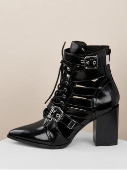 Glamorous Lace-up Boots Point Toe Back zipper Black High Heel Chunky Leatherette Multi Buckle Lace Up Cutout Booties