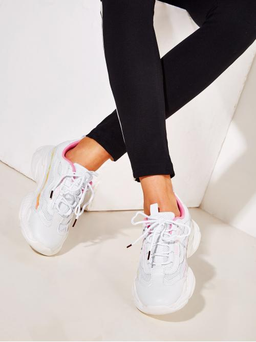 White Lace-up Front Chunky Sole Trainers