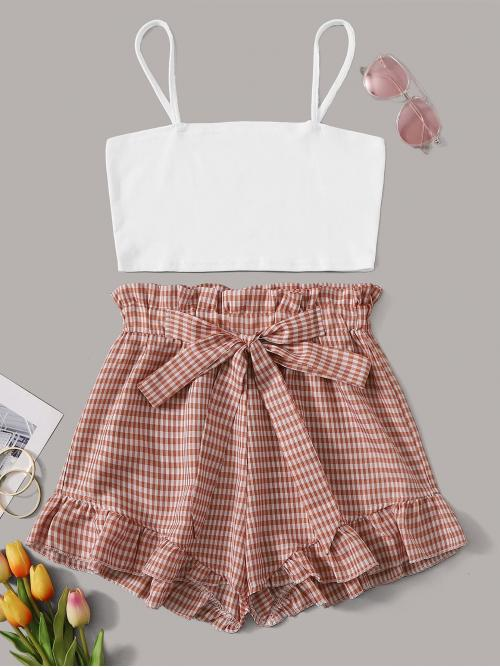 Casual Gingham Regular Fit Spaghetti Strap Sleeveless Multicolor Solid Cami Top With Gingham Tie Front Paperbag Shorts