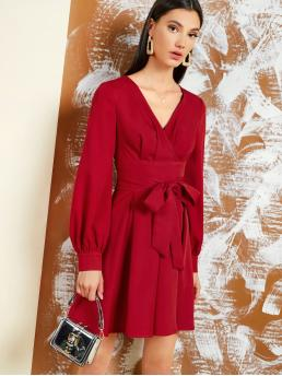 Elegant A Line Plain Flared Regular Fit V neck Long Sleeve Bishop Sleeve High Waist Red and Bright Short Length Surplice Neck Self Belted Boxy Pleated Dress with Belt