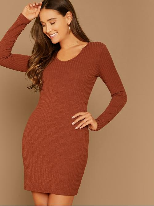 Elegant Bodycon Plain Pencil Slim Fit V neck Long Sleeve Regular Sleeve Natural Brown Short Length Solid Rib-knit Bodycon Dress
