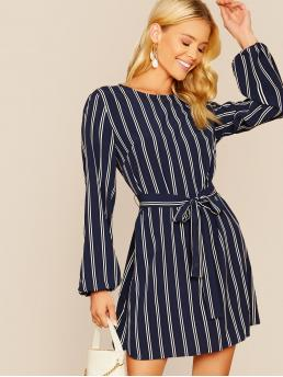 Casual Tunic Striped Straight Shift Round Neck Long Sleeve Natural Navy Short Length Bishop Sleeve Striped Belted Dress with Belt