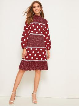 Casual A Line Polka Dot Flounce Regular Fit Stand Collar Long Sleeve Bishop Sleeve Natural Red Midi Length Polka Dot Print Frill Neck Flounce Hem Dress