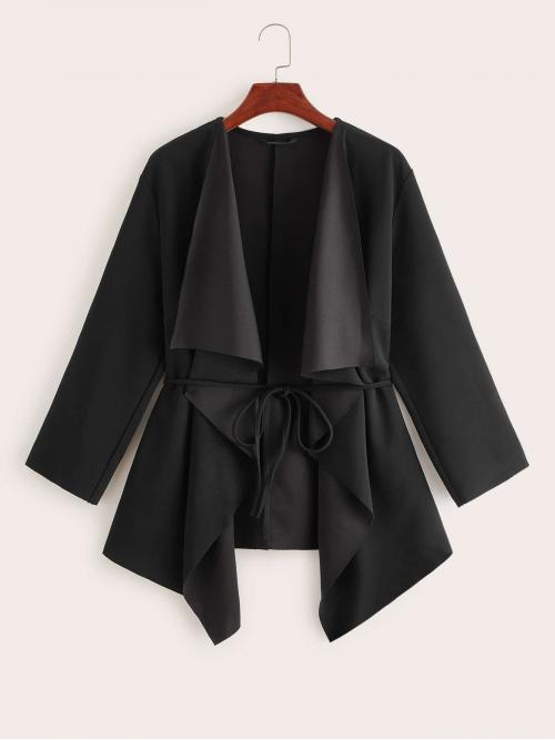Casual Plain Regular Fit Waterfall Three Quarter Length Sleeve Regular Sleeve Black Regular Length Plus Waterfall Collar Belted Coat with Belt
