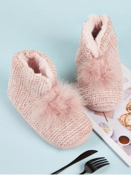 Comfort Other Round Toe Plain No zipper Pink Pom Pom Decor Faux Fur Lined Boots