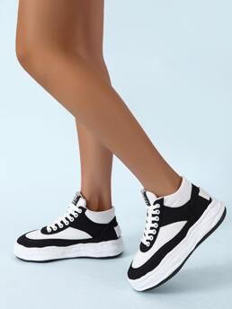 White Canvas Rubber Cotton Two Tone Lace up Front Casual Shoes Discount