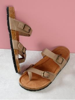Casual Toe Post Khaki Cork Footbed Double Strap Thong Sandals