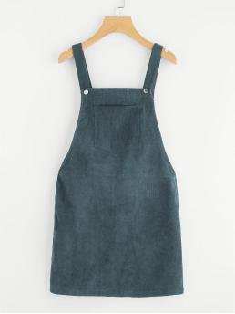 Preppy Pinafore Plain Regular Fit Straps Sleeveless Natural Green Short Length Pocket Front Overall Corduroy Dress
