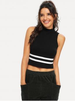 Sporty Tank Slim Fit Stand Collar Black Crop Length Mock Neck Striped Shell Top
