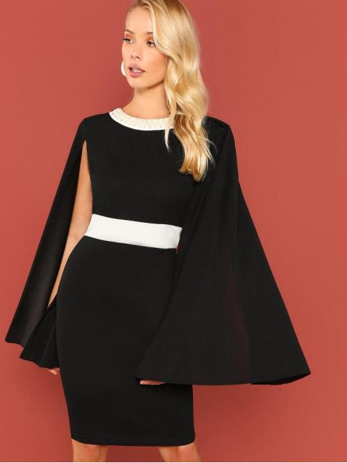 Trending now Black Colorblock Beaded Round Neck Faux Pearl Beading Contrast Trim Cape Dress