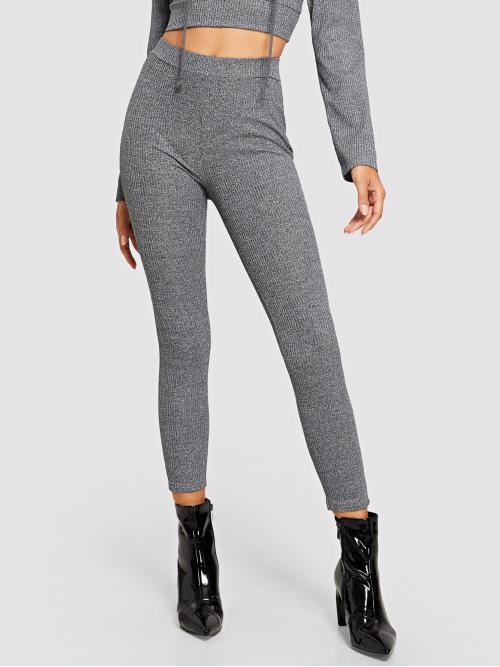 Casual Regular Grey Long Length Wide Waistband Ribbed Knit Leggings