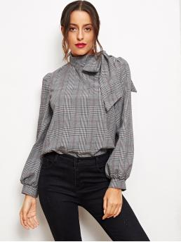 Elegant Plaid Top Regular Fit Stand Collar Long Sleeve Bishop Sleeve Pullovers Grey Regular Length Side Bow Tie Glen Plaid Top