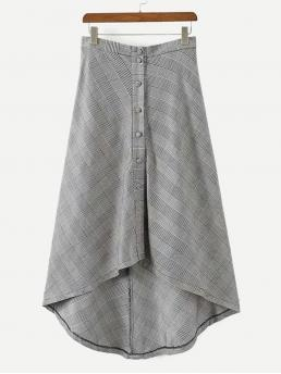 Casual Asymmetrical Plaid Mid Waist Grey Long/Full Length Button Through Dip Hem Glen Plaid Skirt