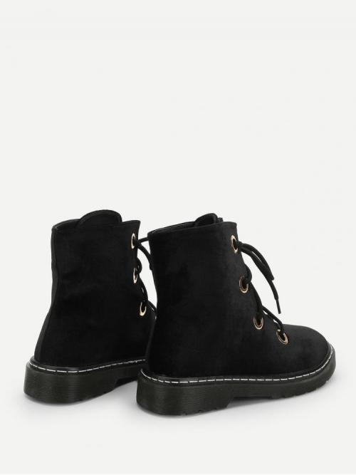 Polyester Black Combat Boots Embroidery Boots Trending now
