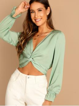 Sexy Plain Top Regular Fit Deep V Neck Long Sleeve Pullovers Green Crop Length Plunging Neck Twist Crop Blouse