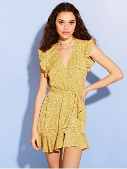 Boho Ditsy Floral Wrap Loose V neck Sleeveless Natural Yellow Short Length Floral Frill Wrap Front Tea Dress with Belt
