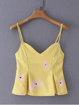 Boho Cami Floral Flared Slim Fit Spaghetti Strap Yellow Crop Length Floral Print Shirred Cami Top