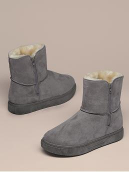 Comfort Other Round Toe Plain Platform Side zipper Grey Low Heel Faux Shearling Lined Snow Boots