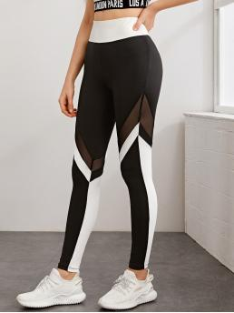Black and White Sheer Regular Colorblock Wide Waistband Mesh Insert Leggings Sale