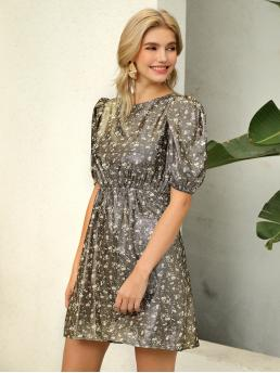 Glamorous A Line Ditsy Floral Straight Regular Fit Round Neck Half Sleeve High Waist Multicolor Short Length D&M Puff Sleeve Ditsy Floral Metallic Dress
