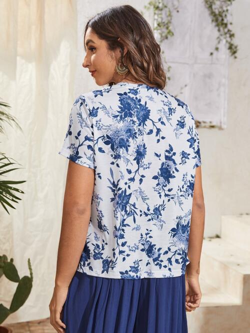Sale Short Sleeve Polyester Floral White Tee