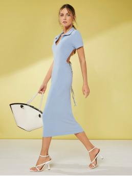Women's Baby Blue Plain Tie Back Collar Solid Tied Backless Dress