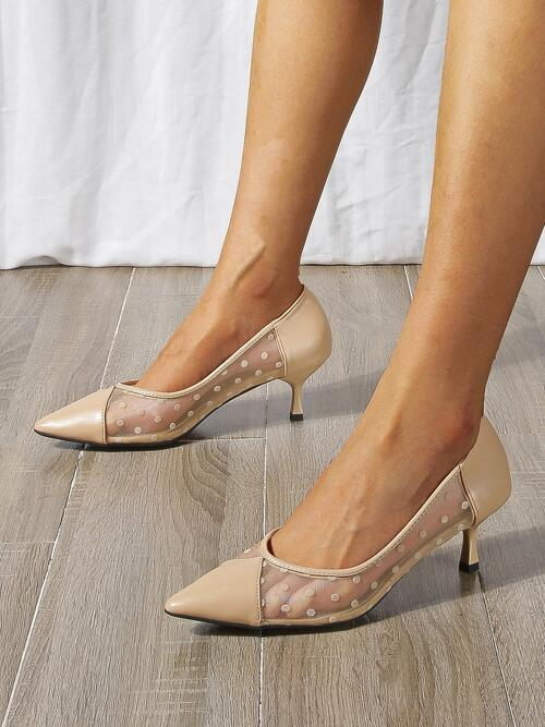 Women's Apricot Mesh Rubber Pu Leather Polka Dot Pattern Pointed Toe Pyramid Heeled Pumps