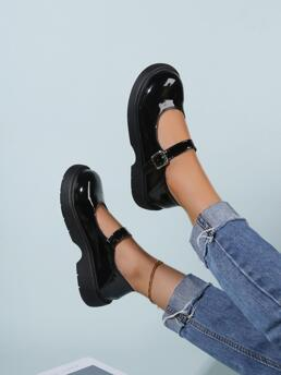 Ladies Black Pu Leather Rubber Pu Leather Patent Buckle Flatform Mary Jane Shoes