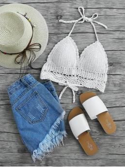 Boho Halter Plain Halter Top White Crop Length Hollow Out Crochet Halter Top with Lining