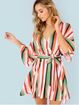 Boho A Line Striped Flared Loose V neck Three Quarter Length Sleeve Kimono Sleeve Natural Multicolor Short Length Flutter Sleeve Self Belted Striped Surplice Wrap Dress