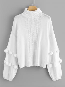 Long Sleeve Pullovers Pom Pom Chiffon Pompom Embellished Mixed Knit Sweater Clearance