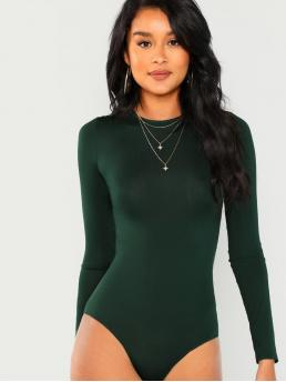 Sexy Plain Skinny Round Neck Long Sleeve Mid Waist Green Lace Contrast Backless Skinny Bodysuit