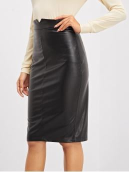 Casual Pencil Plain Mid Waist Black Above Knee/Short Length High Waist Bodycon Skirt