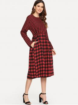 Casual A Line Gingham Round Neck Long Sleeve Natural Red Midi Length Drawstring Waist Gingham Print Dress
