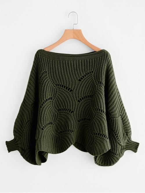 Casual Plain Pullovers Oversized Boat Neck Long Sleeve Batwing Sleeve Army Green Eyelet Detail Dolman Sleeve Scalloped Sweater