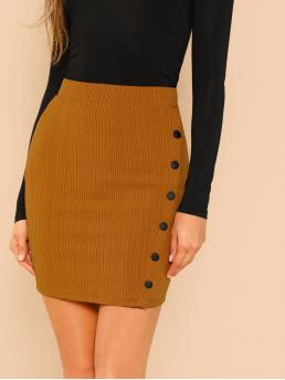 Affordable Yellow Natural Waist Button Bodycon up Jersey Skirt