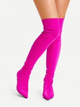 Sock Boots Point Toe Plain No zipper Pink and Bright Low Heel Stiletto Neon Pink Over The Knee Plain Boots