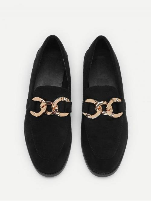 Fashion Chiffon Black Loafers Embroidery Chain Decorated