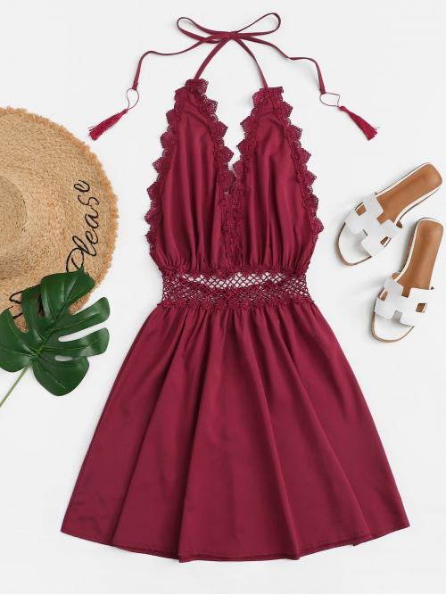 Boho Cami Plain Flared Loose Halter Sleeveless Natural Burgundy Short Length Guipure Lace Trim Fringe Halter Dress