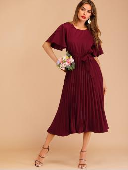 Elegant A Line Plain Loose Round Neck Short Sleeve Flounce Sleeve Natural Burgundy Long Length Button Keyhole Pleated Belted Dress with Belt